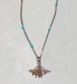 Silver bee necklace with turquoise and gold accents