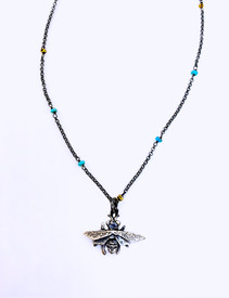 Turquoise and 22k gold vermeil beads in chain