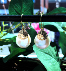 Sand Dollar and Coin Pearl Earrings