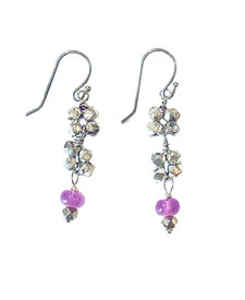 Rosettes of silver and pink stones