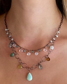 amazonite, peruvian opal and moonstones