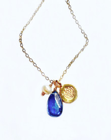 Kyanite and Lotus Necklace