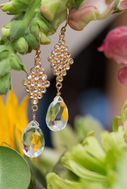Marquis Peridot Earring with White Topaz