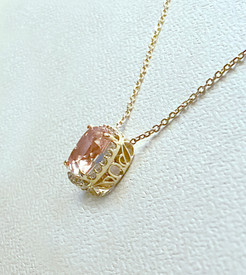 Morganite and Diamond Halo Necklace
