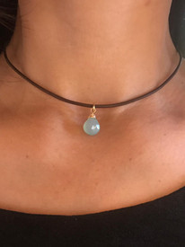 Chalcedony Cap Wrapped Charm Leather Choker