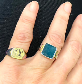 Aquamarine Signature Ring in SIlver and 18K Gold