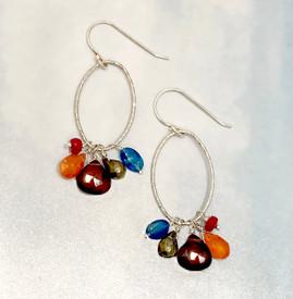 Pyrite and Garnet Jumble Glittering Silver Earrings
