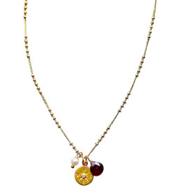 Garnet Necklace with Compass Charm with diamond