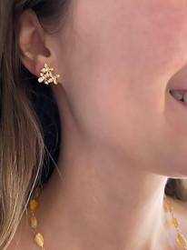 14k Gold Three Petal Earrings
