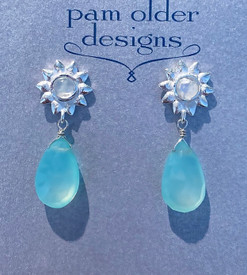 Aqua Chalcedony Sun Drop Post Earrings