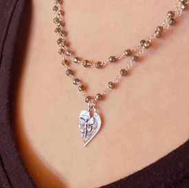 Butterfly Heart Silver Necklace in Pyrite