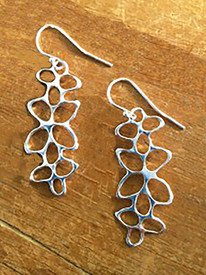 Cute silver earrings, cast of recycled silver.