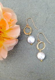 Small, light, white freshwater coin pearl earrings