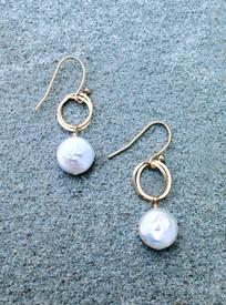 White freshwater coin pearl earrings