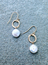 White freshwater coin pearl earrings