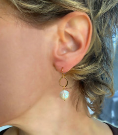 Mini Coin Pearl Earring