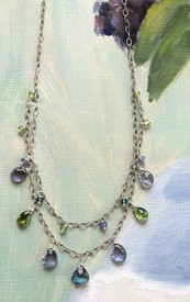 Peridot, iolite and London blue topaz