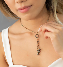 Short Pyrite Tassel Necklace