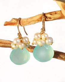 Aqua Chalcedony & Pearl Earrings in Gold filled.