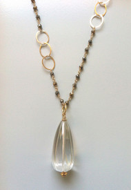 Pyrite Chain with Carved Crystal Pendant