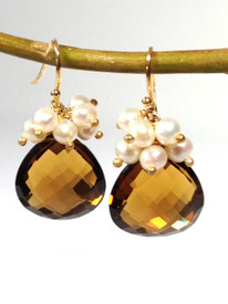 Cluster Earring in Whiskey or Beer Quartz