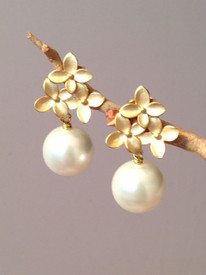Pearl Earrings on a Matte Gold Post