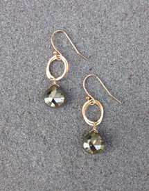 Neutral pyrite stones on gold filled loops