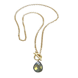 Pear Shaped Faceted Labradorite on Gold Filled Rolo Chain