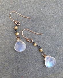 Mixed Metal makes moonstone earrings look very sophisticated.