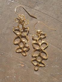 Long floral motif earrings