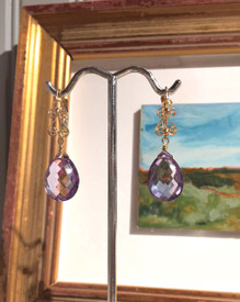 Rose amethyst on 14k lever backs make a beautiful Mother of the Bride earring!
