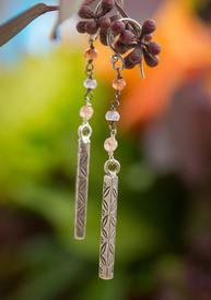 Thai Silver Tourmaline Long Earrings