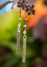 Thai Silver Tourmaline Long Earrings