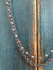Double Pyrite and Oxidized SIlver Necklace