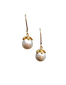 18k gold with diamond petals top these South Sea Pearl Earrings