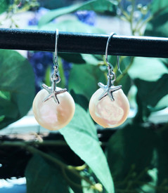 Silver starfish earrings.