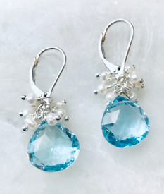 Blue Topaz and Pearl Cluster Earrings