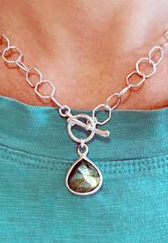 Each natural Labradorite pendant is unique.