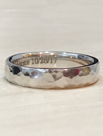 4.5mm hammered band shown in 14k white gold