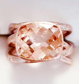 Morganite & Diamond Rose Gold Ring with Woven band