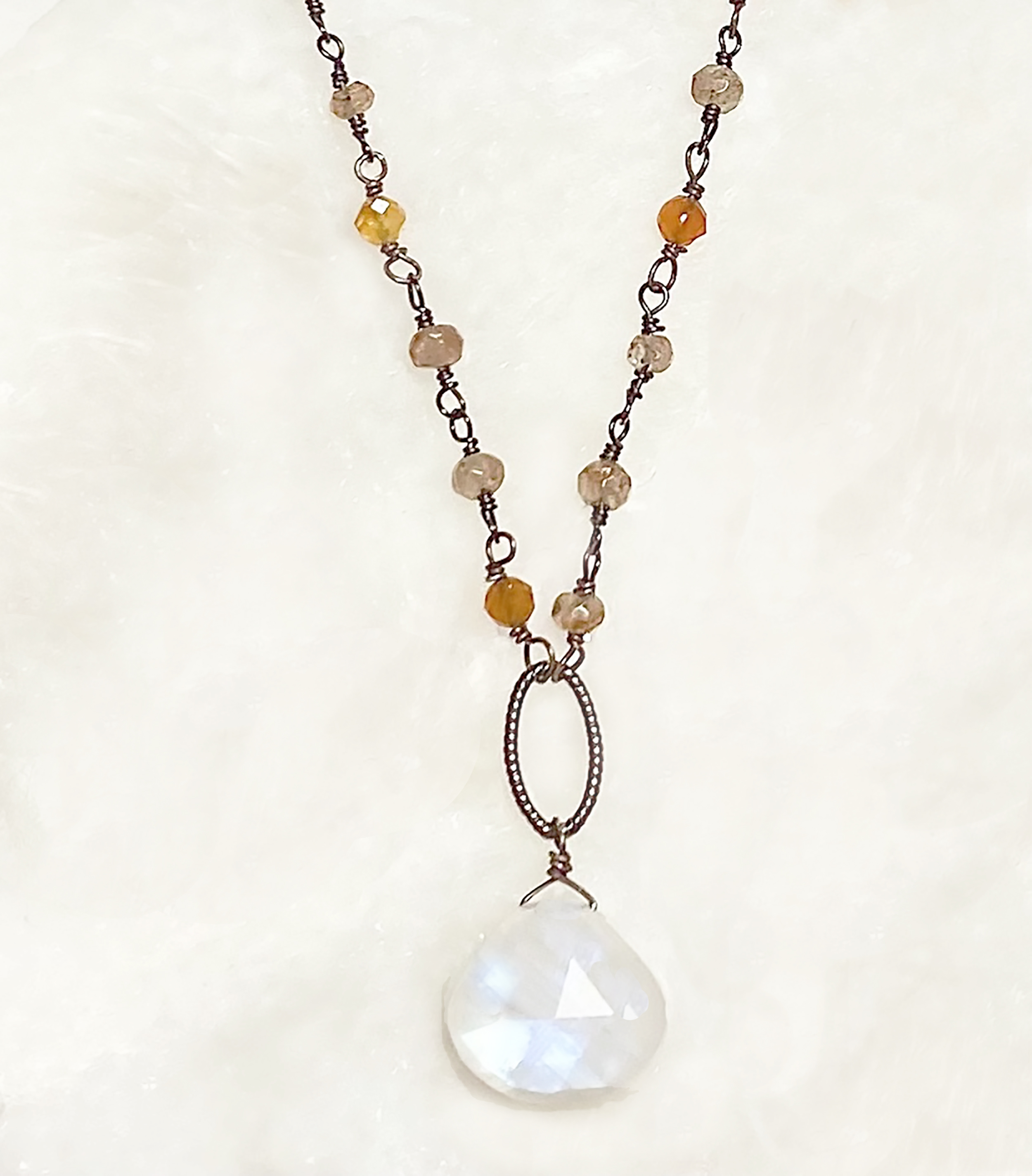 Topaz and Gold Necklace Carnelian