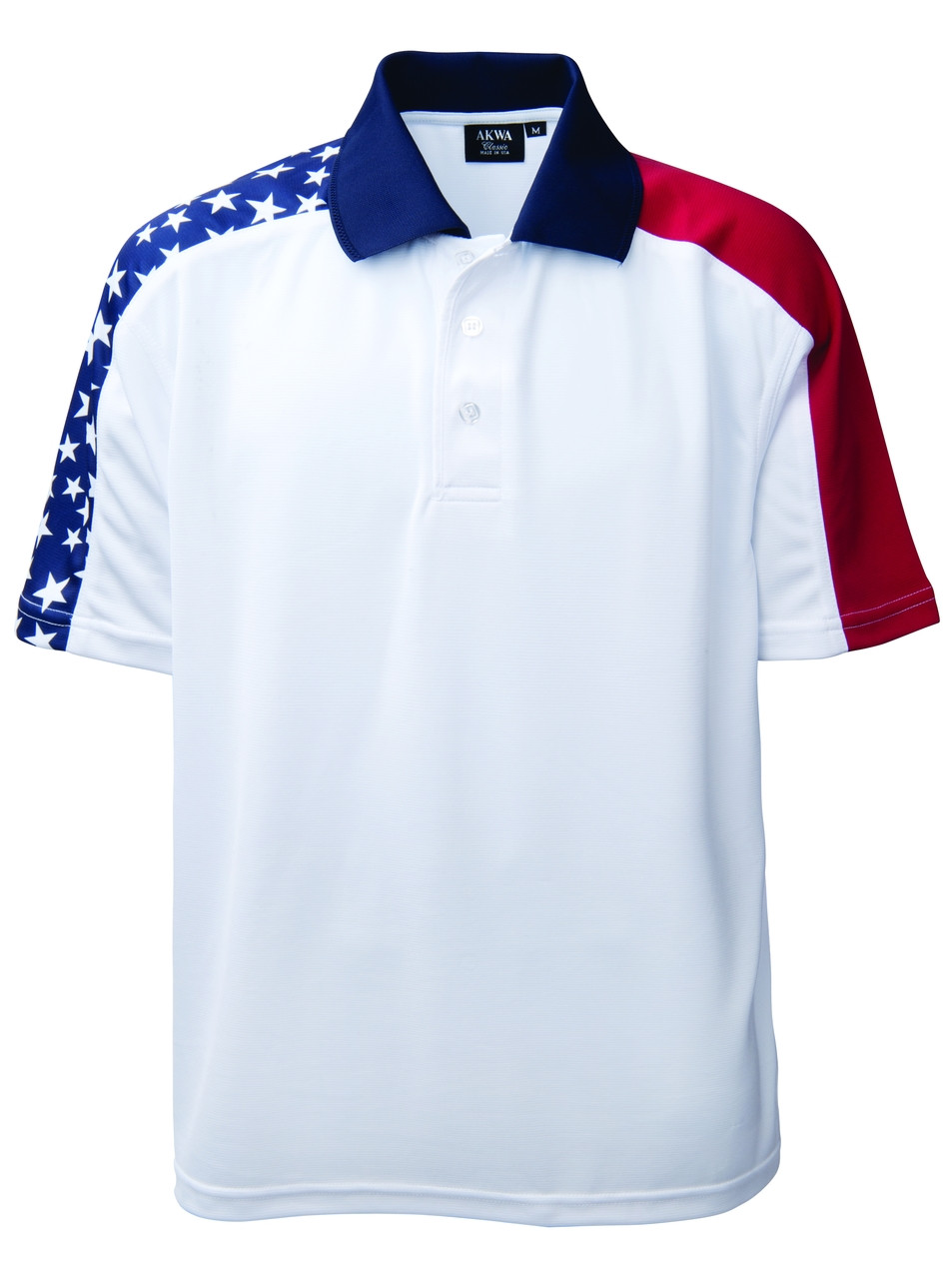 Fabric - 5.0 oz 100% Moisture Wicking Polyester. Sizes - XS-4XL Colors - Patriotic, flag colors(as shown) Features - Lightweight, comfortable dry wicking poly. - Stars and red shoulder panel are sublimated poly, so wont fade. - Perfect for any political gathering. - Perfect for any patriotic event or occasion