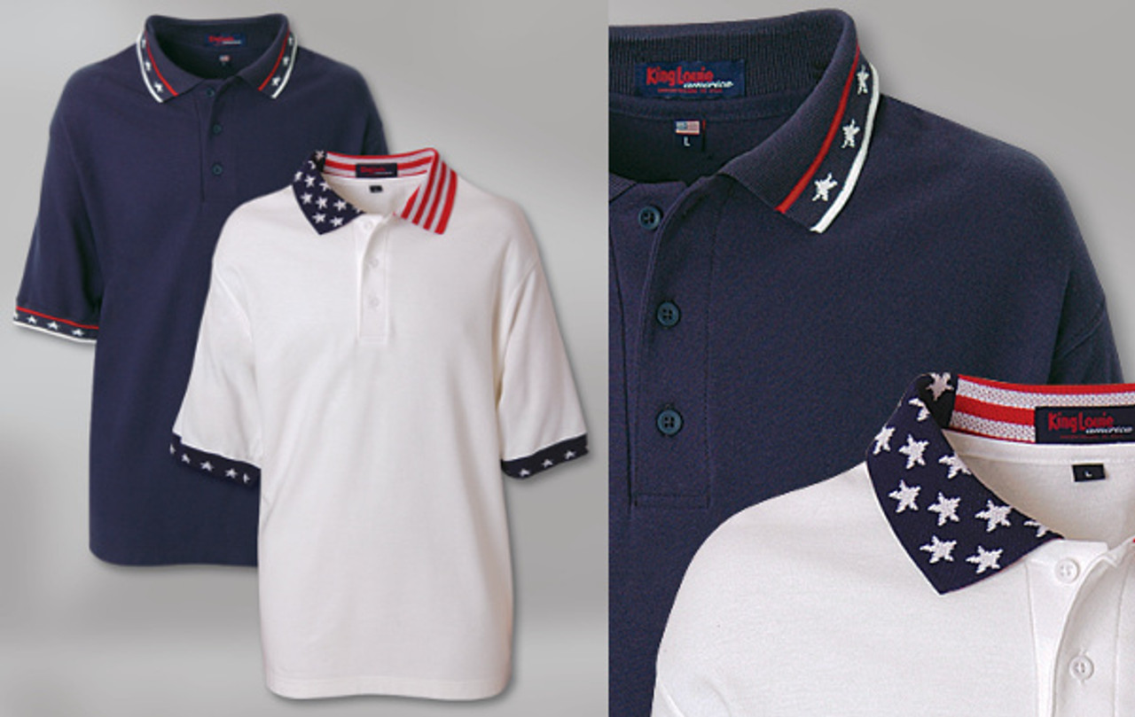 PATRIOTIC SPORT SHIRT 100% cotton pique. Solid body with stars-and-stripes knit collar and star knit welt on sleeve. 3-button placket with dyed-to-match buttons. Union Made in USA.