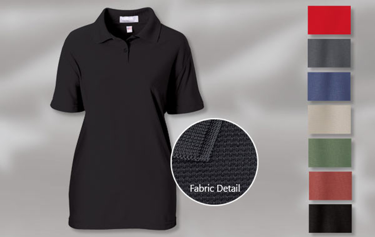 LADIES' FASHION SHIRT WITH SPANDEX 96% polyester/ 4% Spandex waffle pattern shirt with a solid collar. 2-button placket, hem sleeve and bottom. Union Made in USA