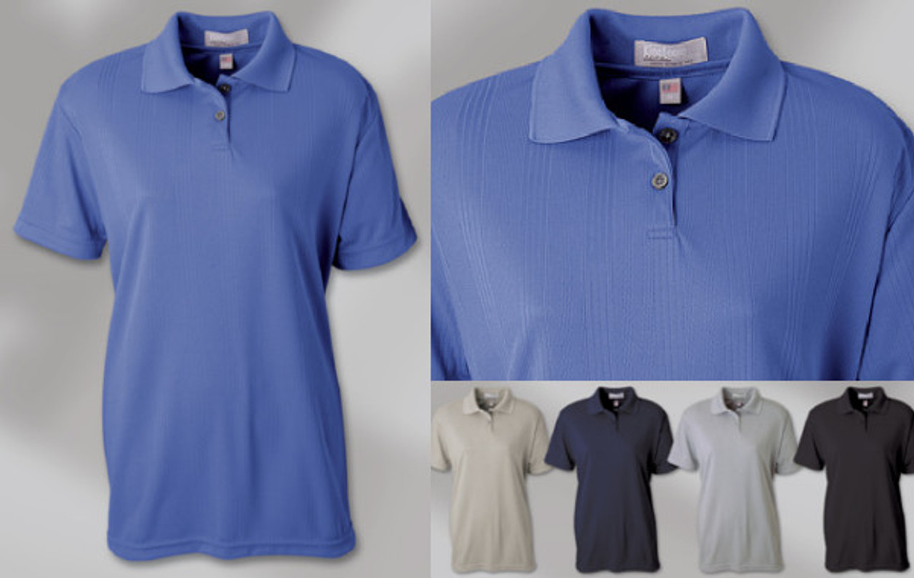 LADIES' MOISTURE MANAGEMENT DROP-NEEDLE INTERLOCK SHIRT 100% Polyester drop-needle vertical stripe interlock polo. 2-button placket with a solid-collar, set-in sleeve with a hemmed cuff. Union Made in USA.