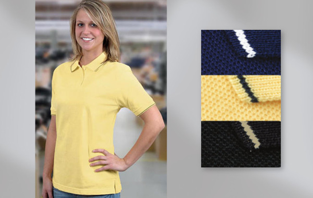 W4600 – LADY TRADITION  LADIES' COTTON SPORT SHIRT 100% cotton pique knit. Ladies' cut, 2-button placket, matching knit collar and welts with narrow contrasting accent stripe. Union Made in USA.