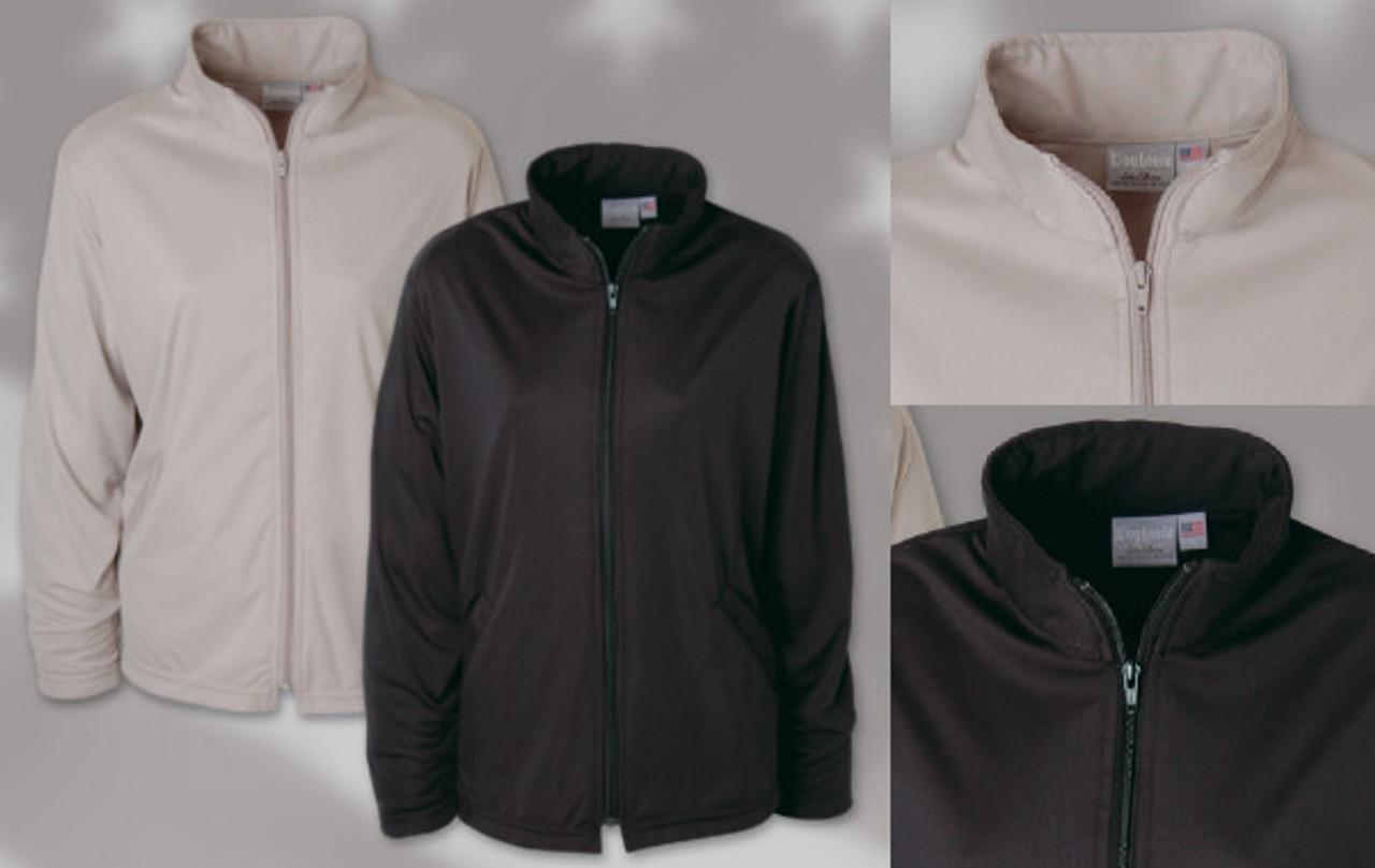 LADIES' FULL ZIP JACKET 100% polyester full zip ladies' jacket. Zip thru collar, welt pockets with hemmed bottom and sleeves.