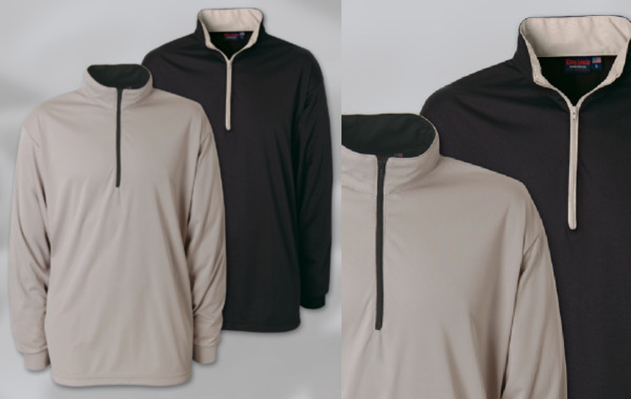 QUARTER-ZIP FASHION LONG SLEEVE SHIRT Quarter-zip, long sleeve 100% poly jersey with an open bottom. Zip-thru contrasting inside collar with knit cuffs. Union Made in USA.