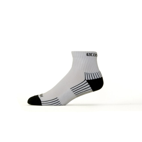 Active Sport Quarter Medium White with Black by Eco Sox