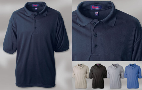 MOISTURE MANAGEMENT DROP-NEEDLE INTERLOCK SHIRT 100% Polyester drop-needle vertical stripe interlock polo. Solid collar and sleeve welt. 3-button placket with a set-in sleeve. Union Made in the USA. Sizes: S-5XL